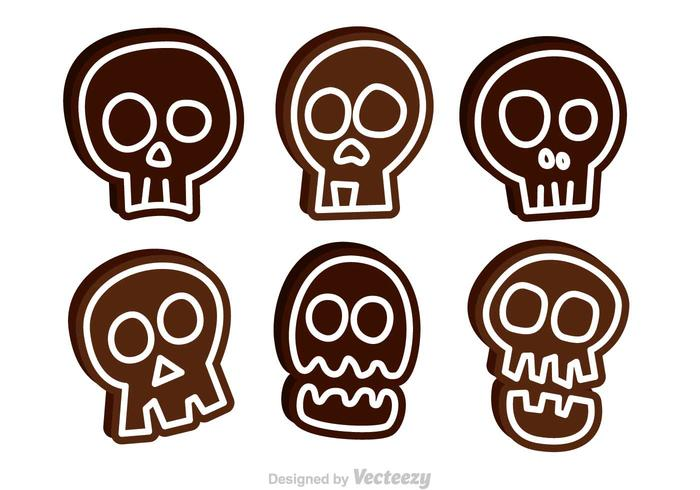 Ícones engraçados do vetor do crânio