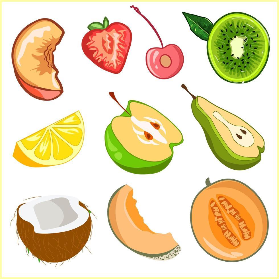 pacote de elementos de fatias de frutas e corte ao meio. vetor