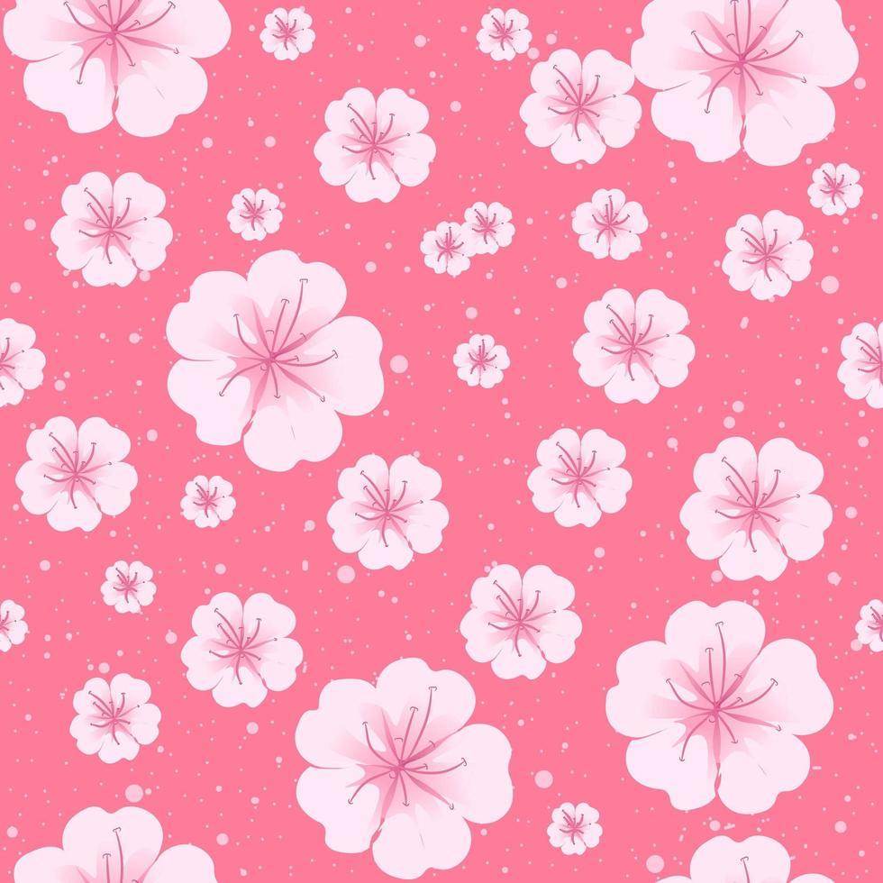 Sakura Primavera flores em padrão sem emenda de flor. vetor