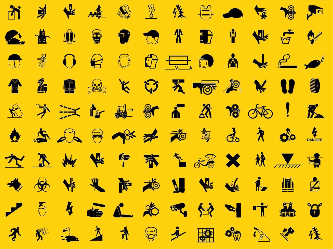 conjunto de símbolos de equipamento de proteção individual necessário vetor