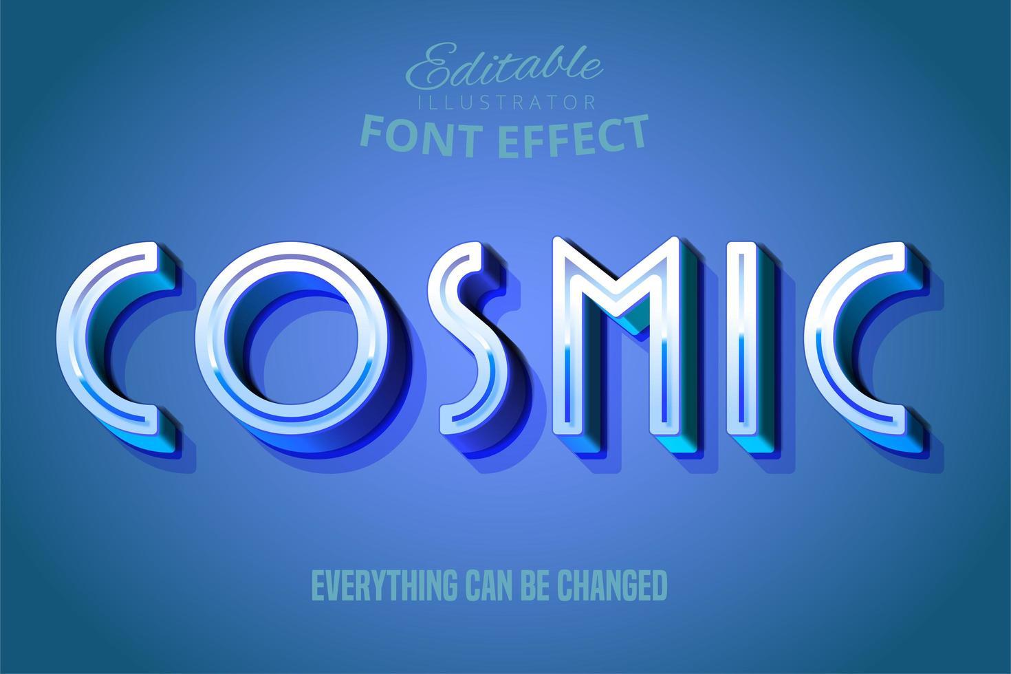 efeito de texto azul cósmico vetor