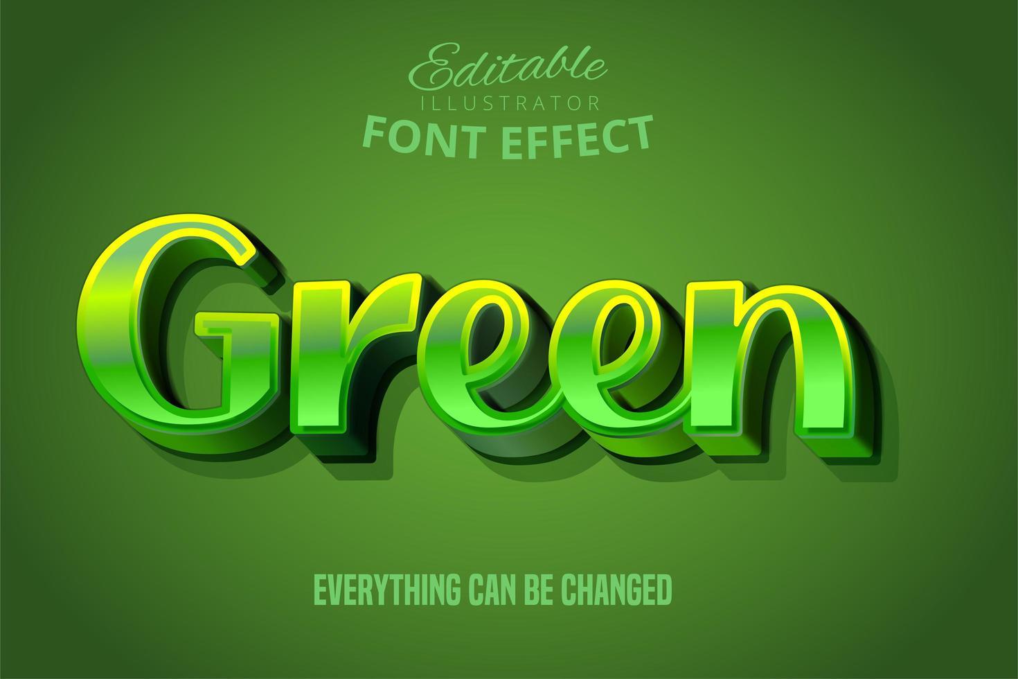 efeito de texto metálico verde vetor