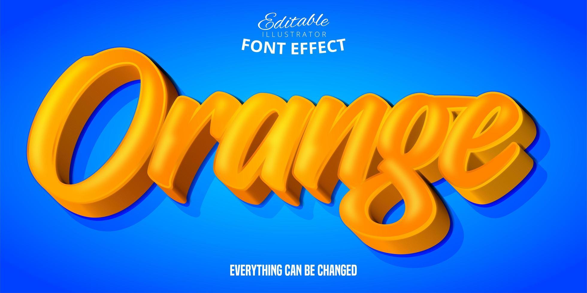 efeito de texto 3d laranja vetor