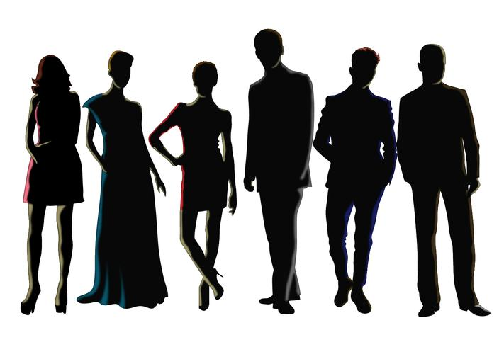 Vetores de silhueta masculina e feminina