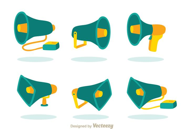 Ícones do Megafone Verde vetor