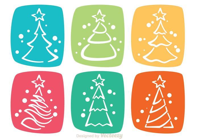 Ícones coloridos da Árvore de Natal vetor