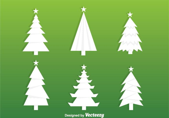 Vetores da silhueta da árvore de natal branco