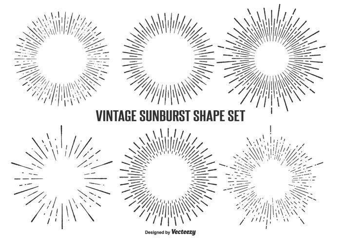 Conjunto de formas de Sunburst Vintage vetor