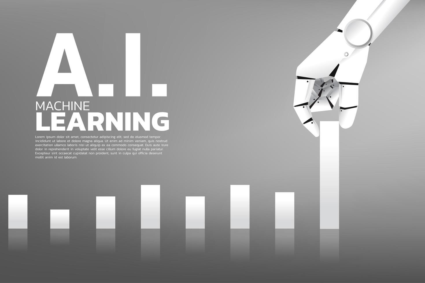 mão de robô, puxando o gráfico de negócios mais alto vetor
