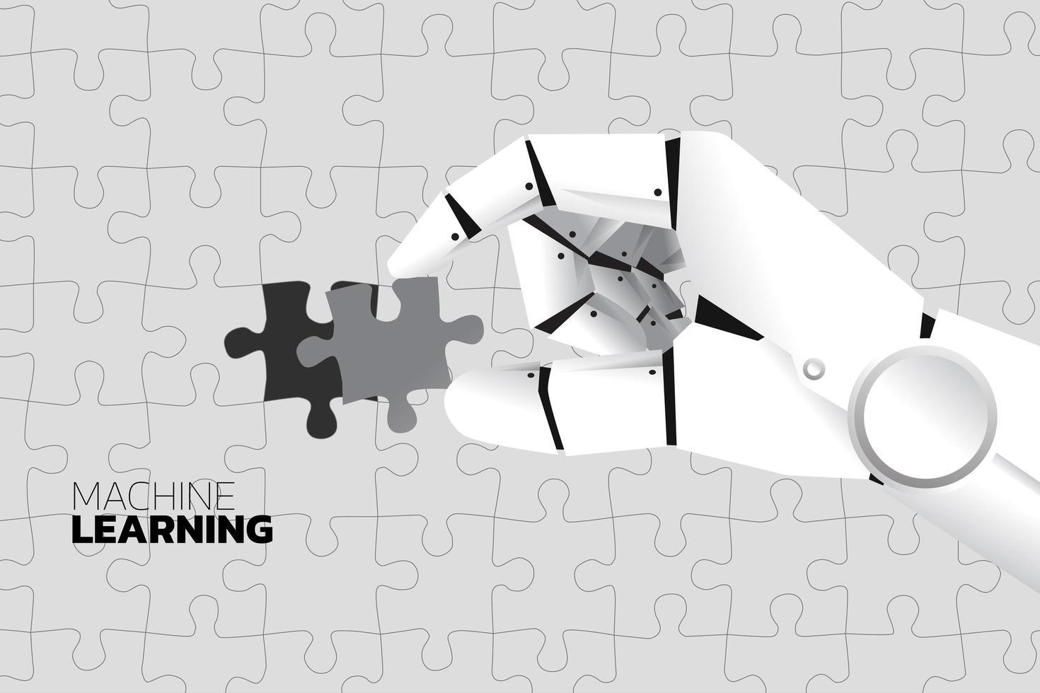 mão robô coloca último quebra-cabeça para completar o quebra-cabeça vetor