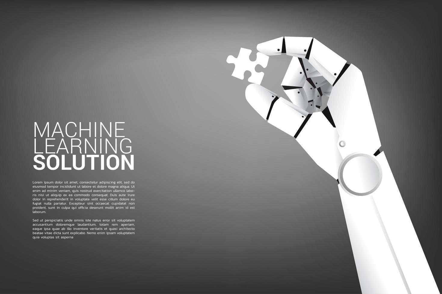 mão de robô segurando a peça do quebra-cabeça vetor