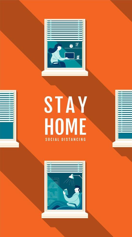 cartaz de distanciamento social laranja com pessoas no windows vetor