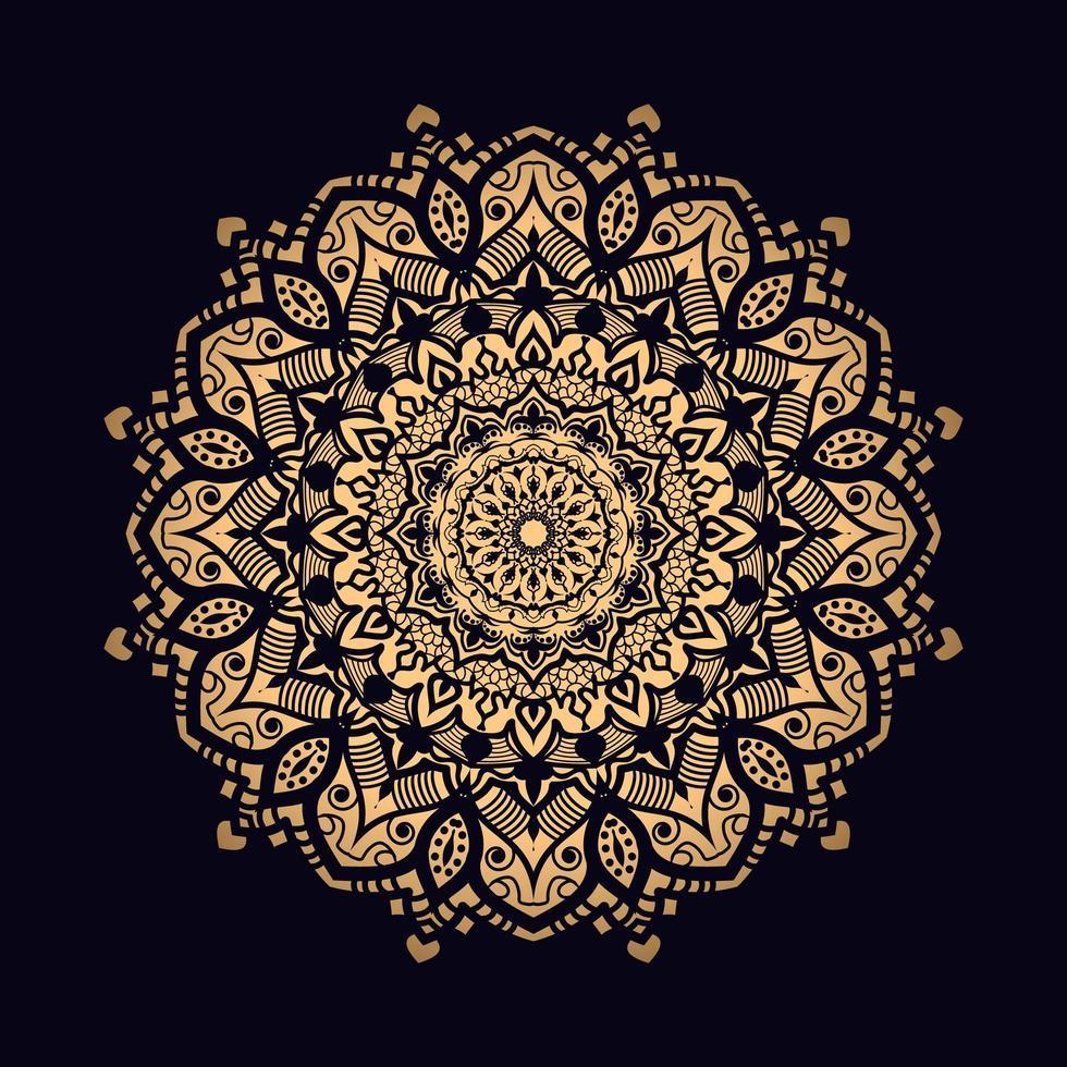 mandala única ornamentada ouro em preto vetor