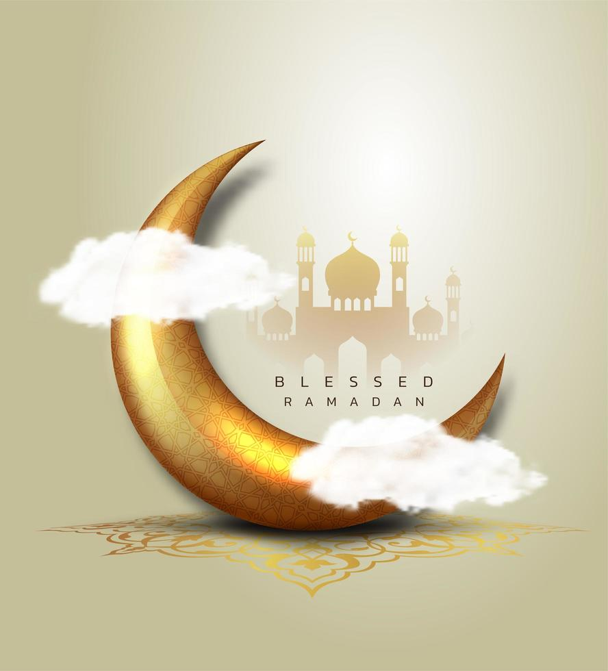 Ramadan Kareem luxo crescente 3d ouro lua vetor