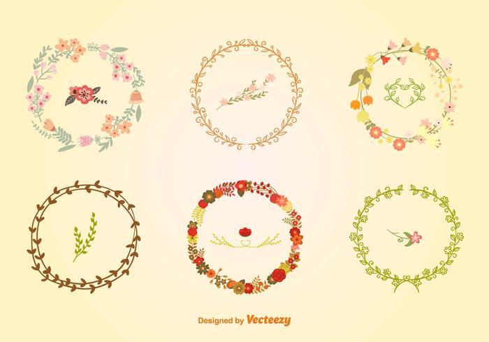 Grinaldas florais artesanais vetor