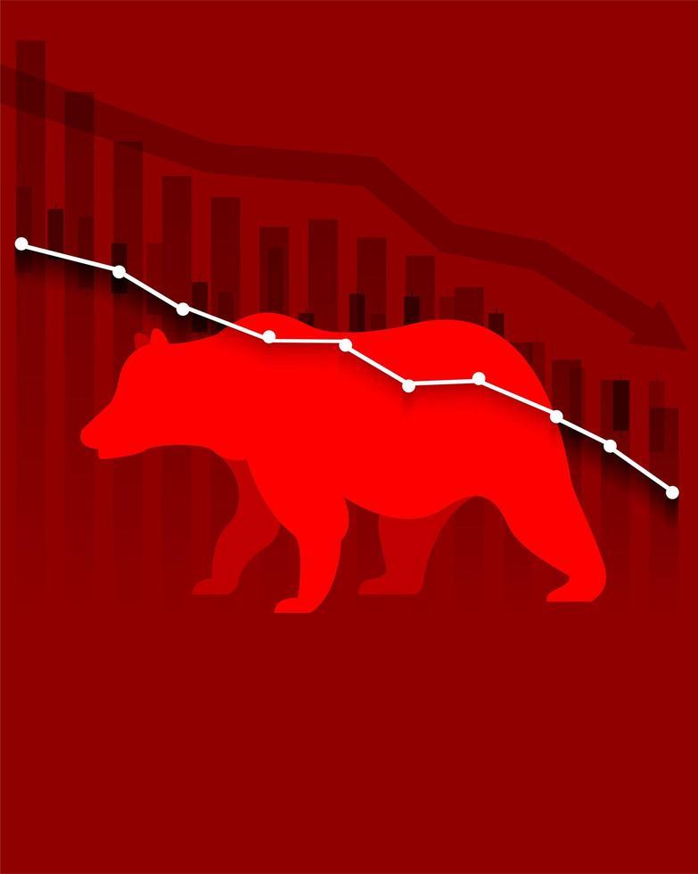 gráficos e urso no esquema de cores vermelho vetor