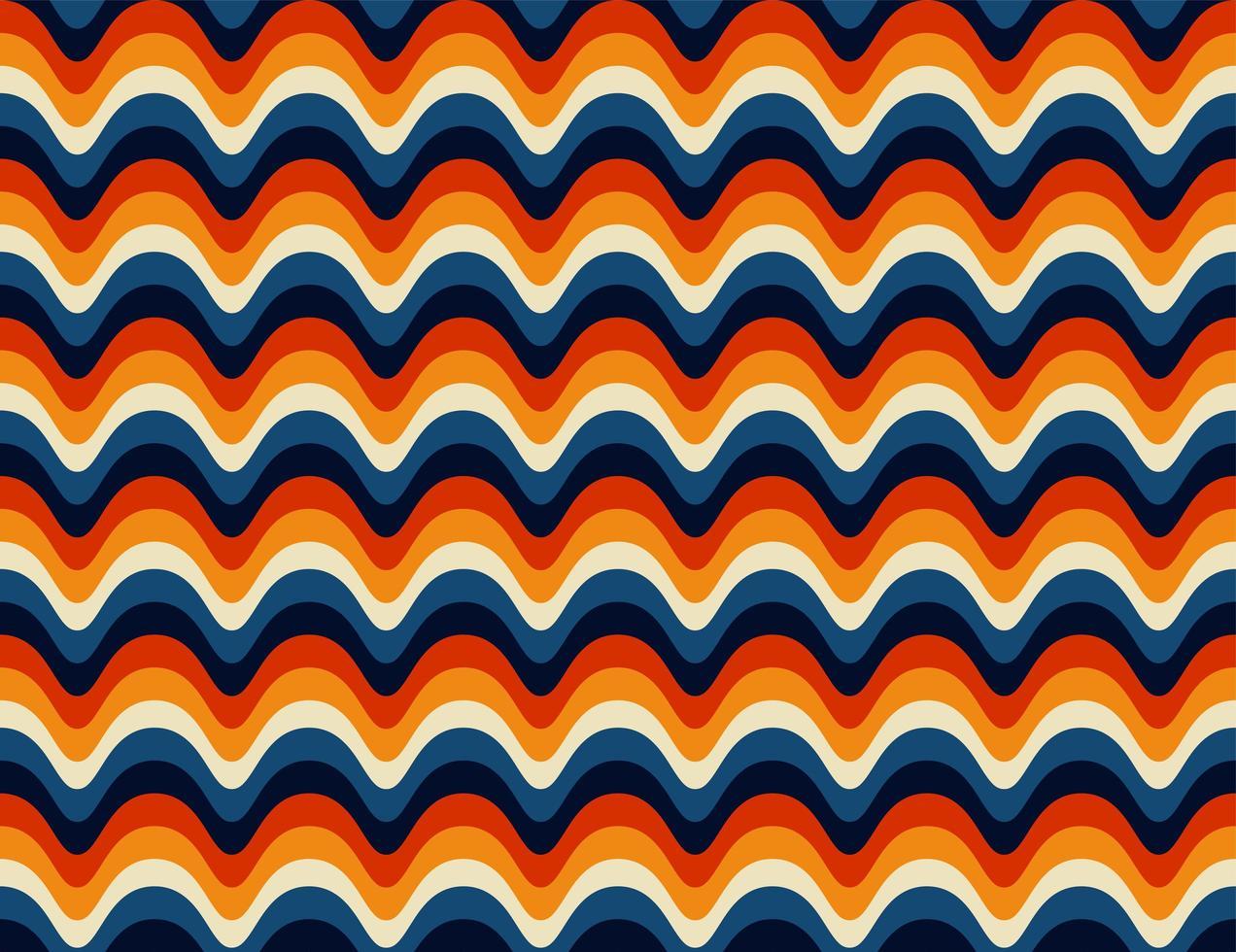 padrão retrô dos anos 70 cuved sem costura vetor