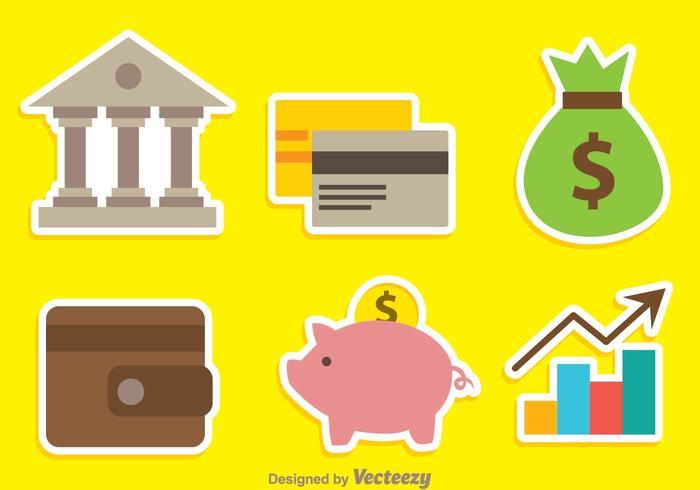 Ícones de cores do banco vetor