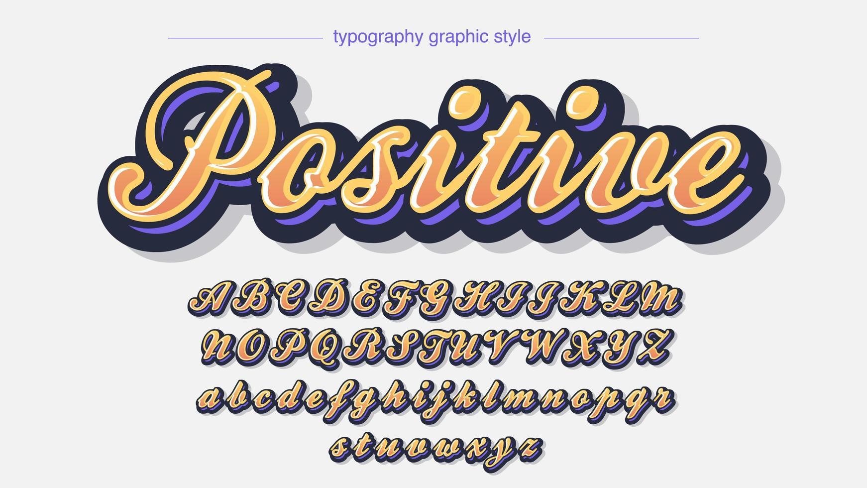 fonte artística 3d de caligrafia colorida laranja vetor