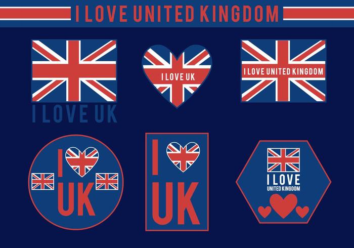 Eu amo vetores do Reino Unido