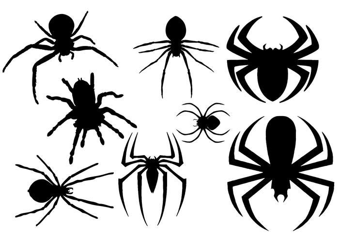 Vetor de silhueta de aranha grátis