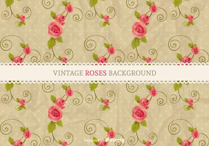 Fundo de rosas vintage do vetor grátis