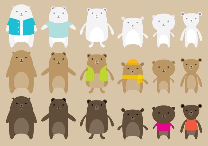 Vetores de urso fofos