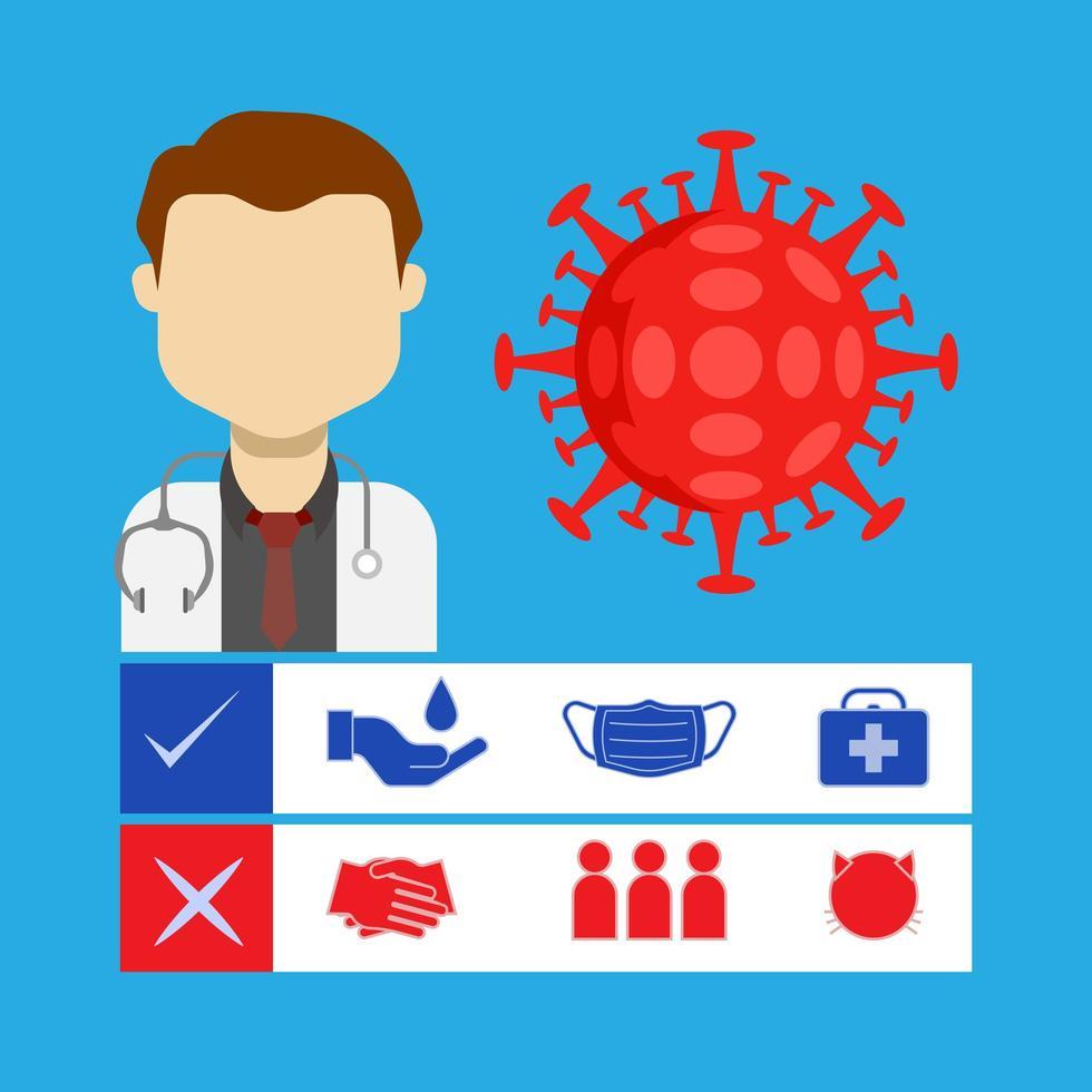 médico com ícones de prevenção de vírus vetor