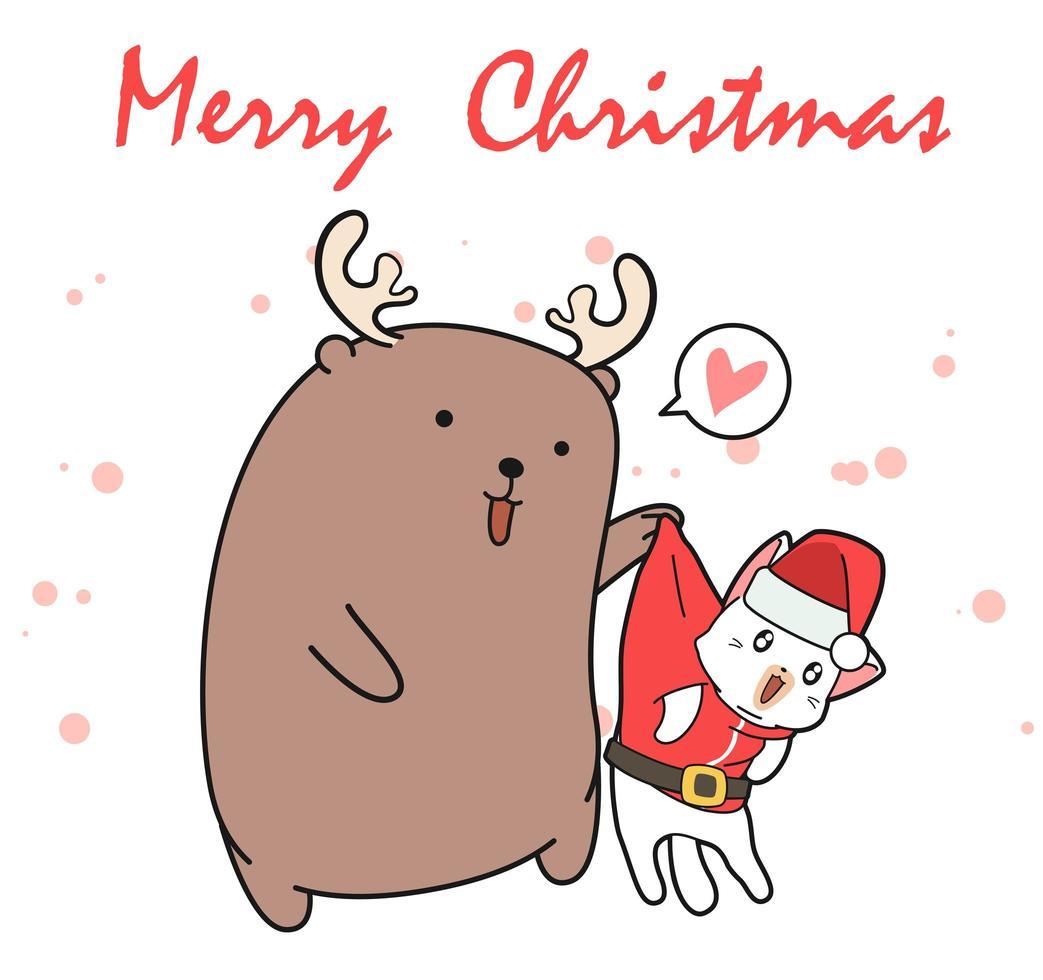 Rena de desenho animado, segurando o gato de Papai Noel vetor