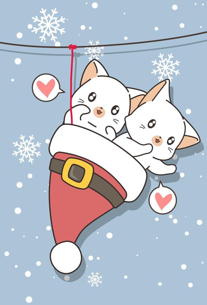 gatos adoráveis no chapéu de Papai Noel foram pendurados vetor