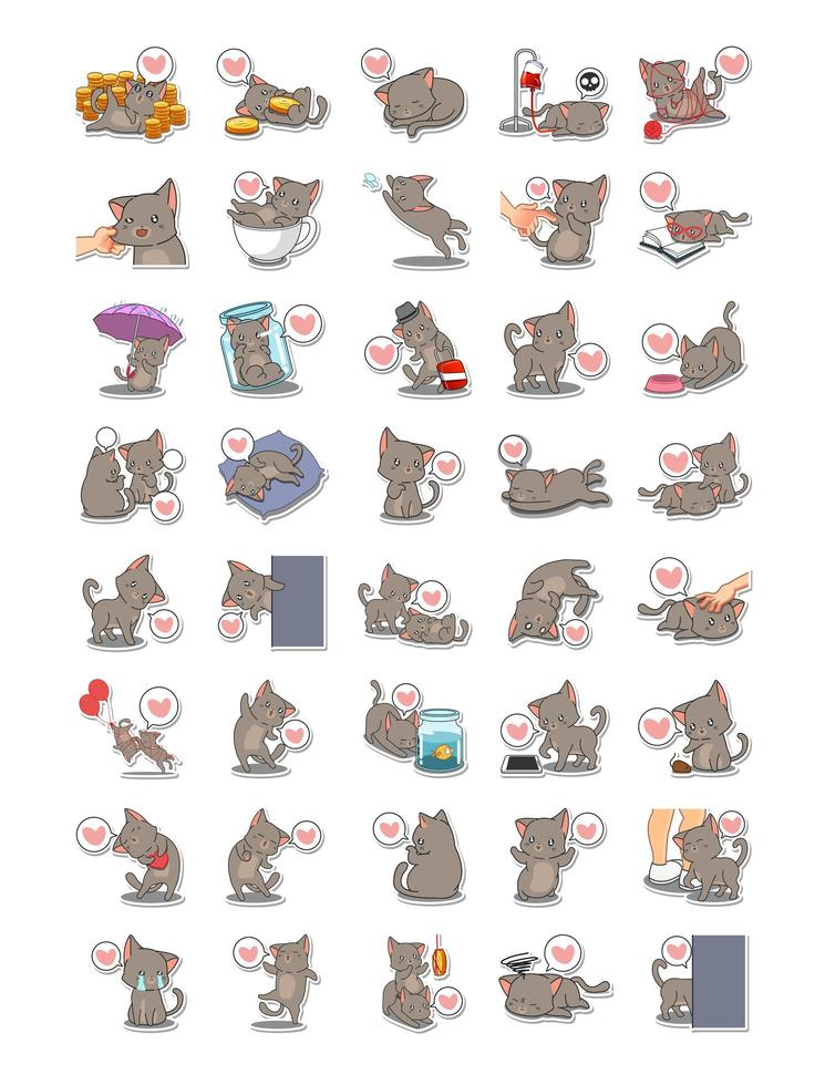conjunto de gatos realizando coleção de tarefas diferentes vetor