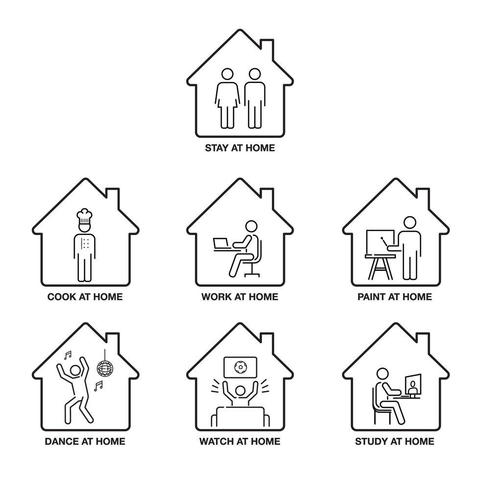 ficar em casa conjunto de ícones vetor