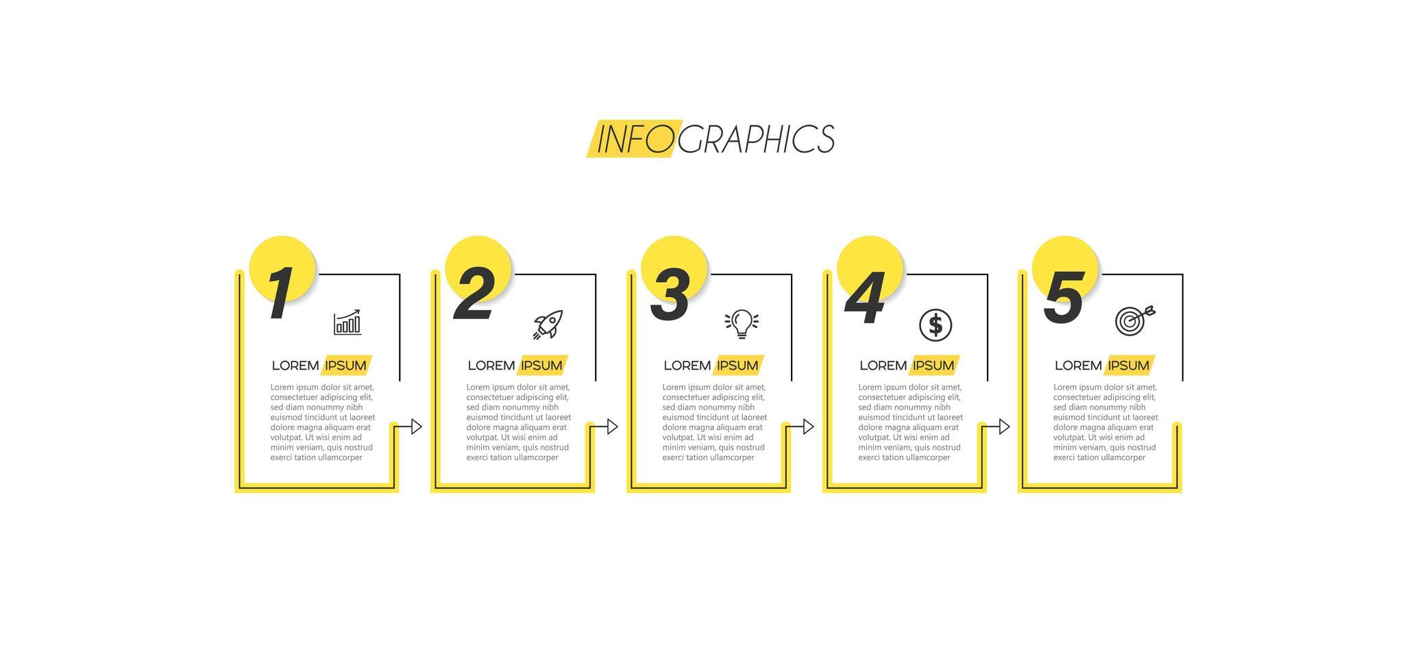 infográfico amarelo numerado vetor
