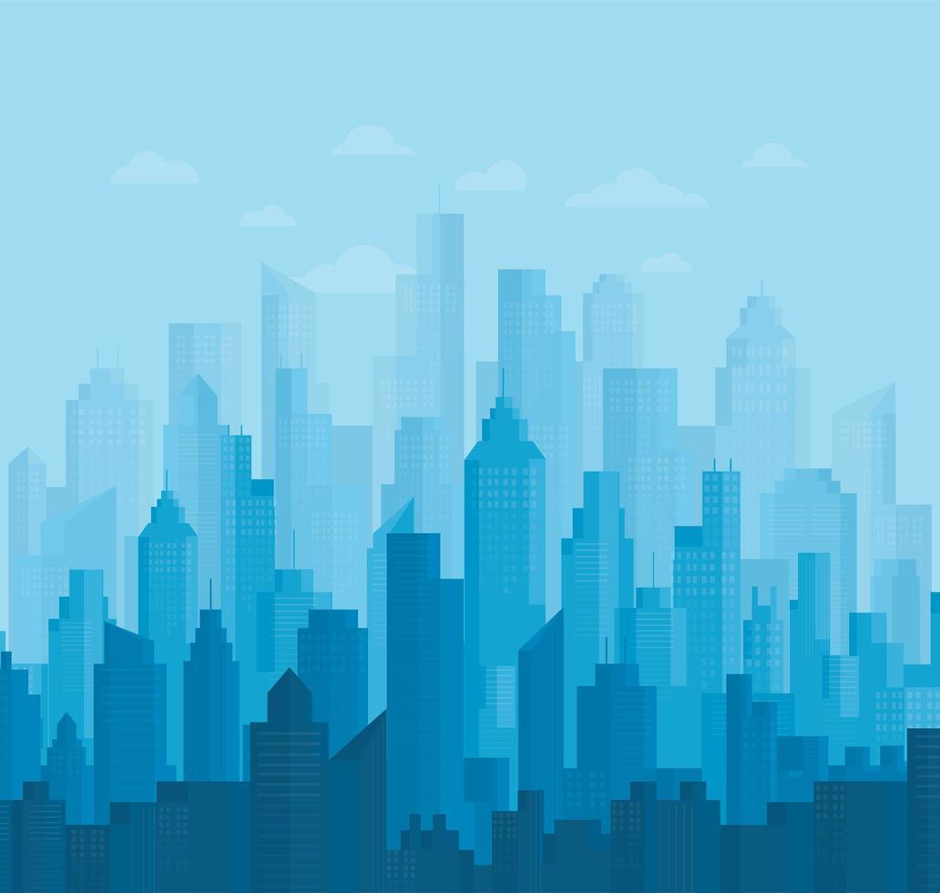 skyline da cidade azul vetor