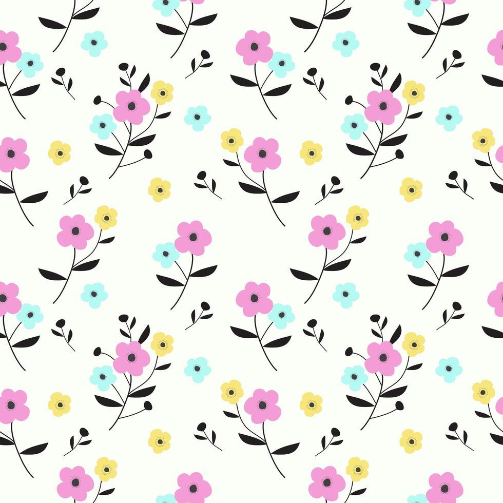 padrão floral desenhada de mão colorida vetor