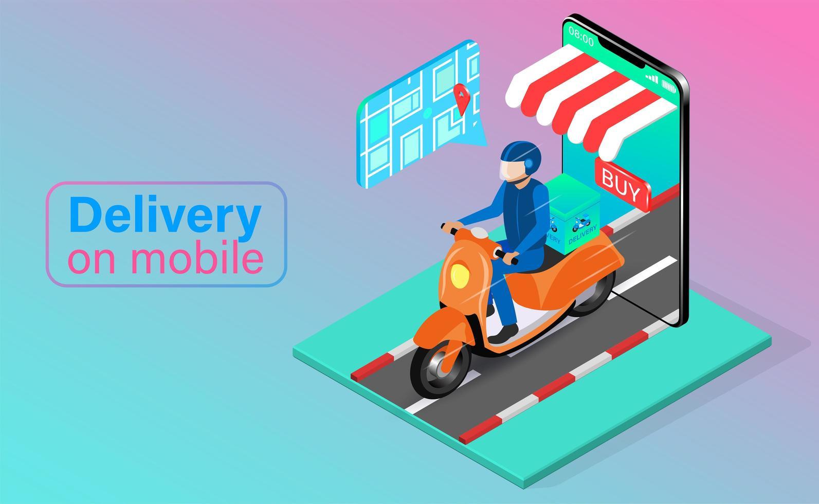entrega de scooter de telefone móvel vetor