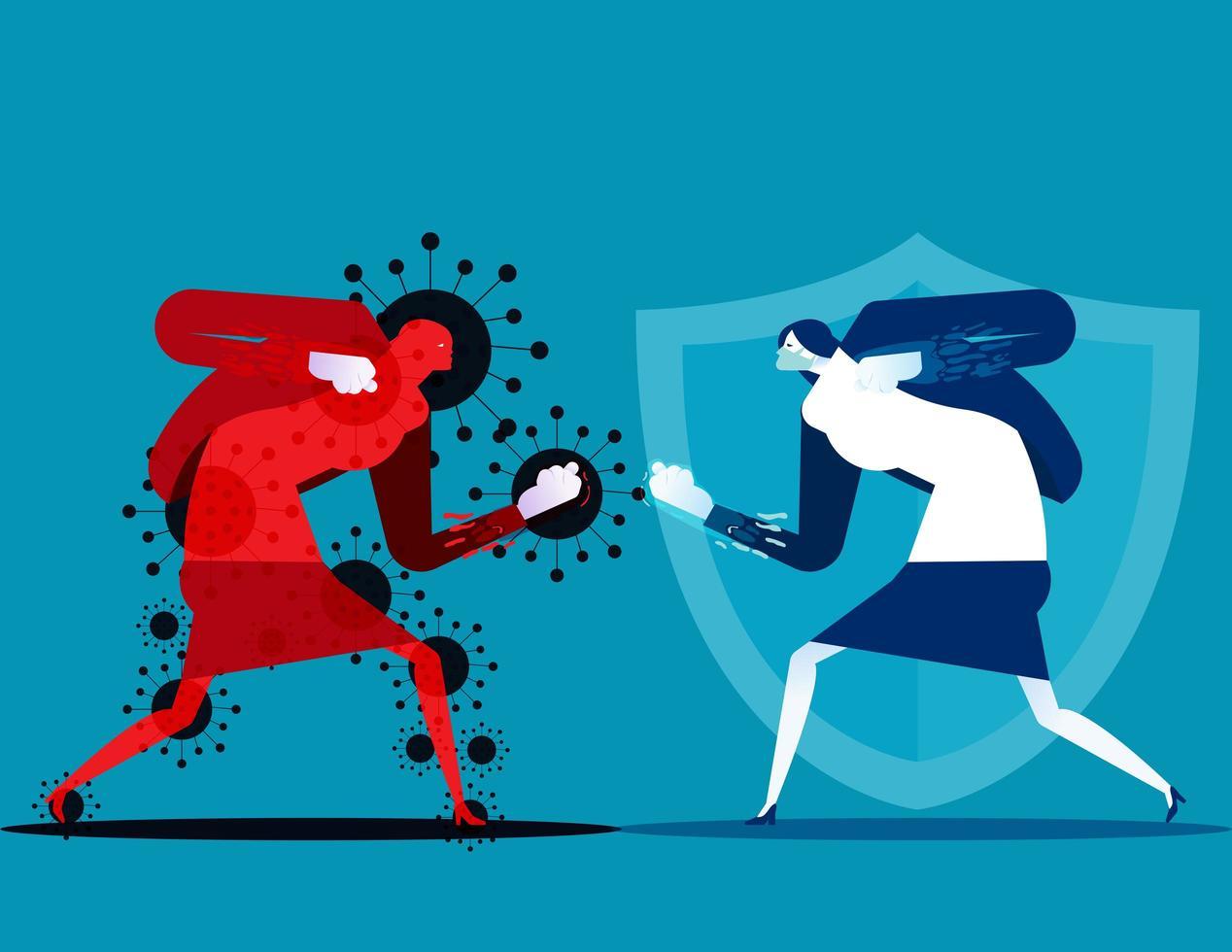 mulher lutando personagem covid-19 vetor