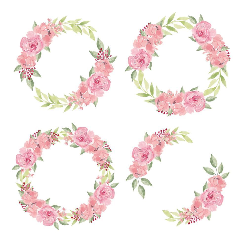 conjunto de coroa de flores em aquarela vetor