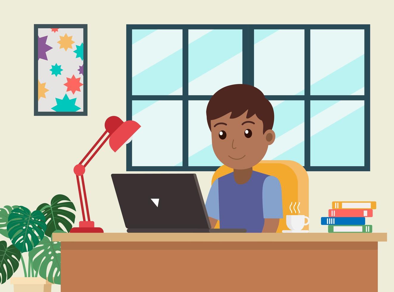 homem afro-americano de desenhos animados, trabalhando em casa vetor