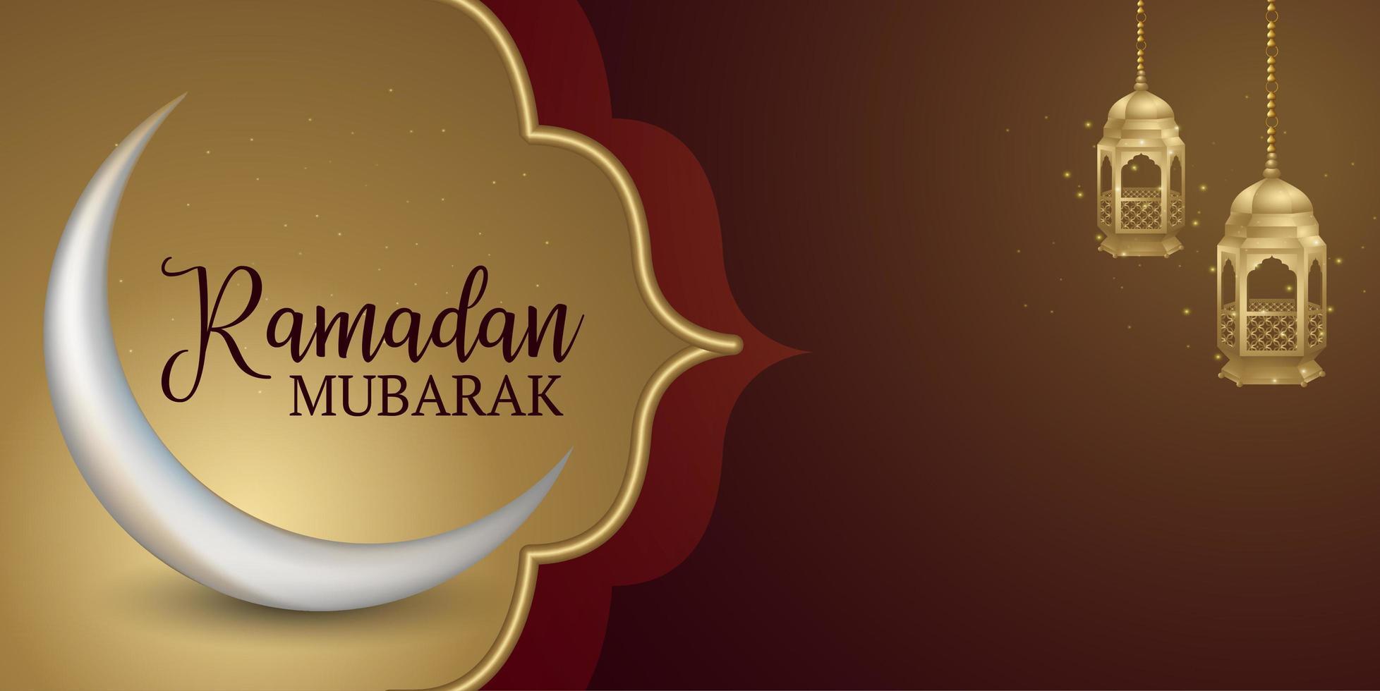 moldura de ouro ramadan kareem e lanternas brilhantes banner vetor