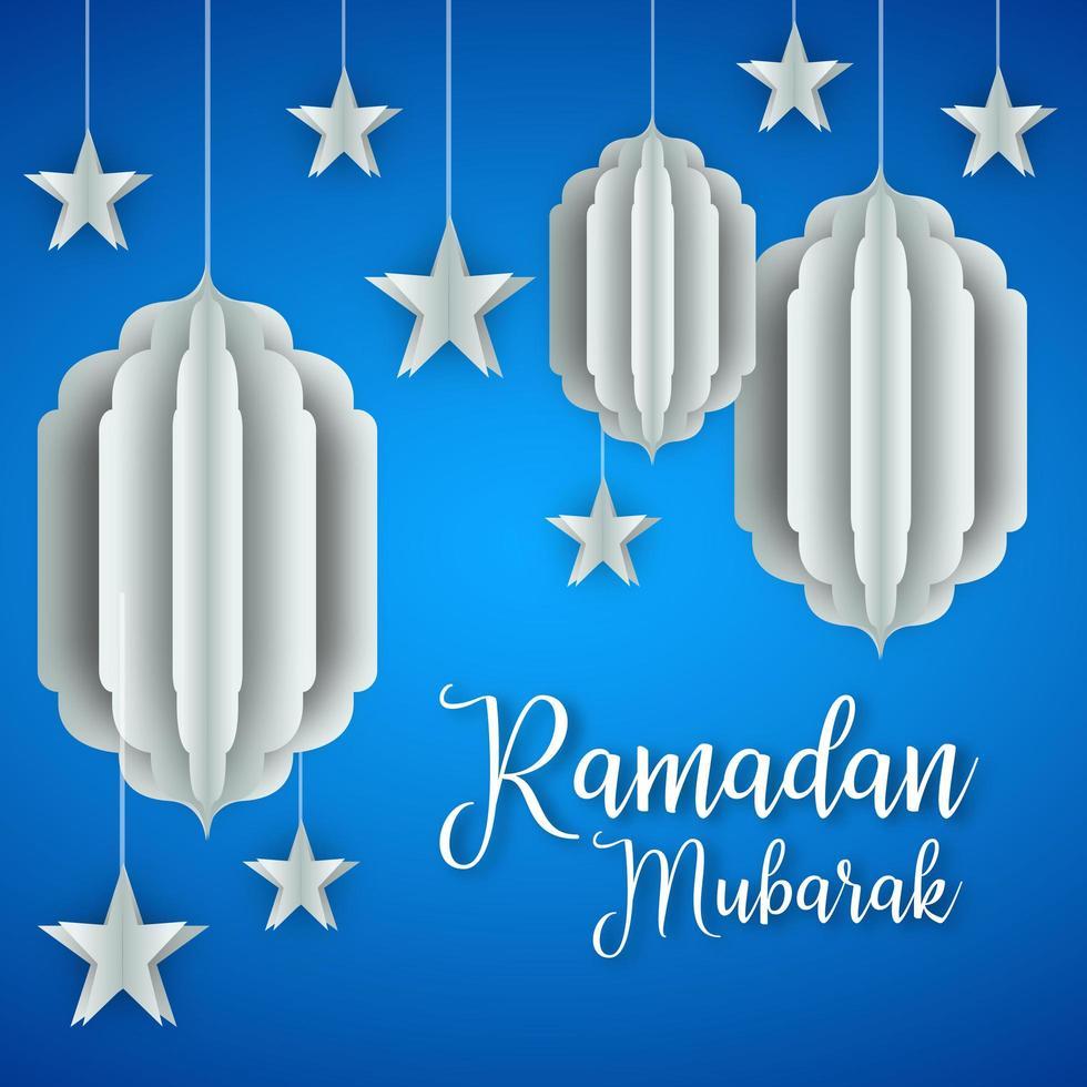 design de lanternas e estrelas de papel ramadan kareem vetor
