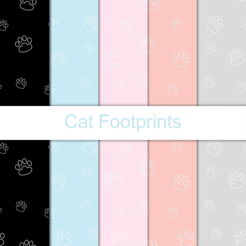 padrão de pegadas de gato de contorno vetor