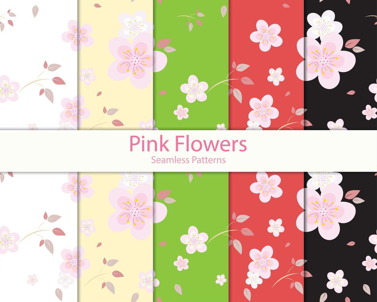 fundos coloridos com flores rosa padrão conjunto vetor