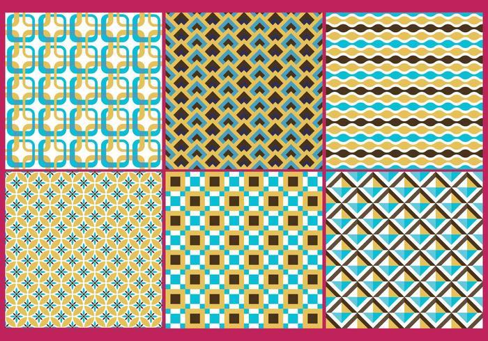 Retro Gold & Blue Patterns vetor