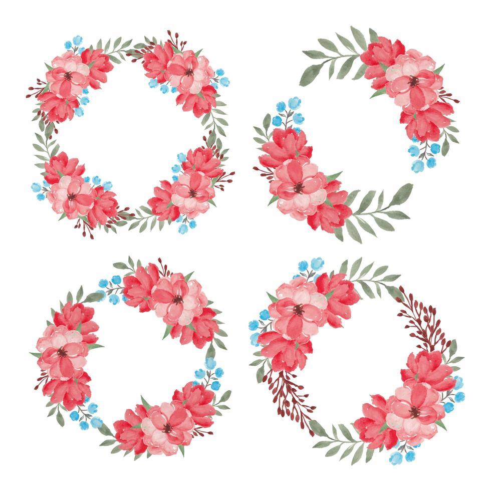 conjunto de coleta de quadro de círculo de flor linda aquarela vetor