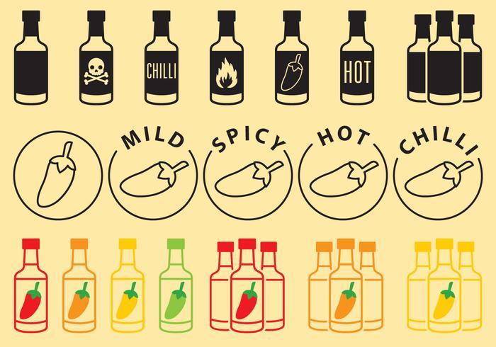 Ícones de garrafas de molho vetor