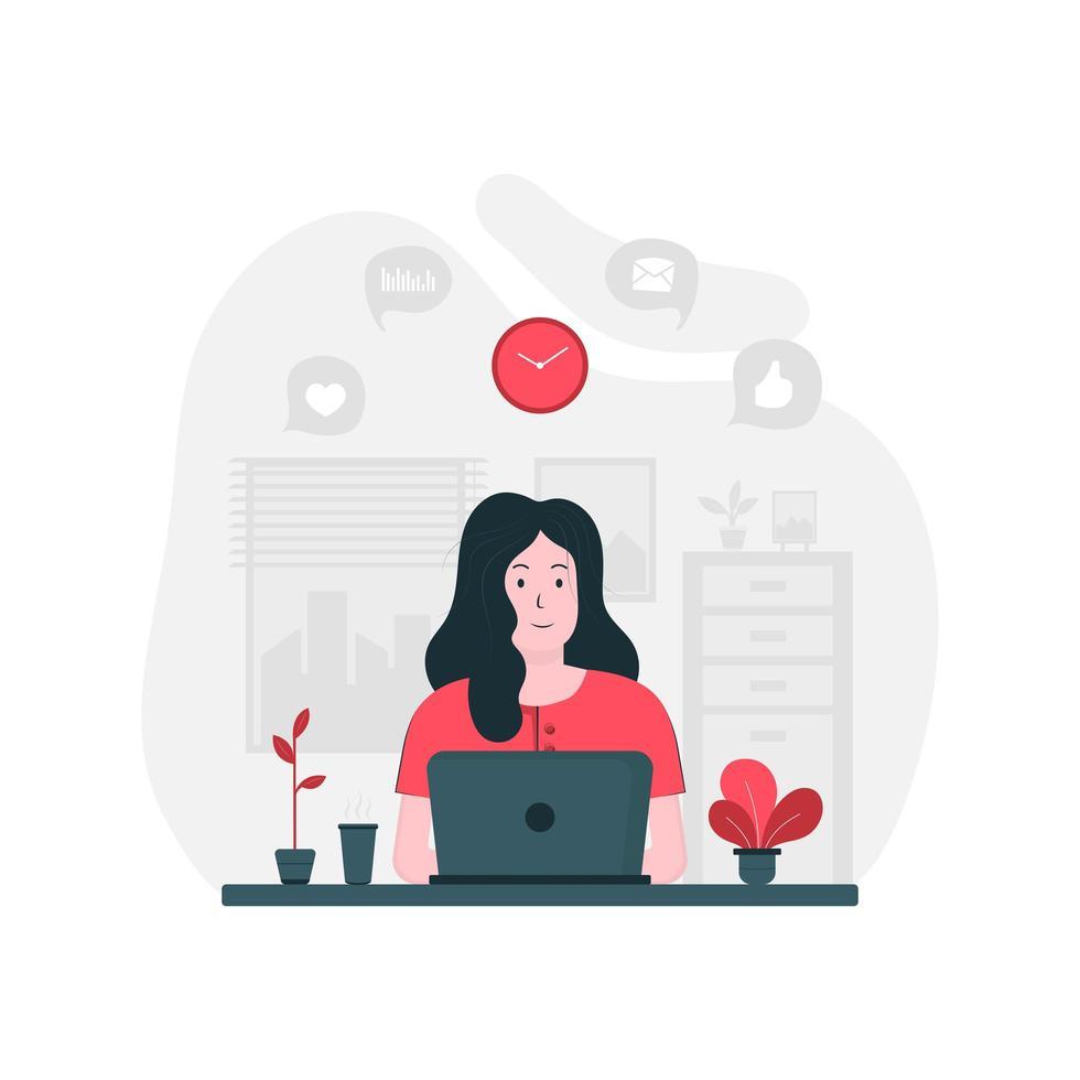 freelancer feminino trabalhando no computador em casa vetor