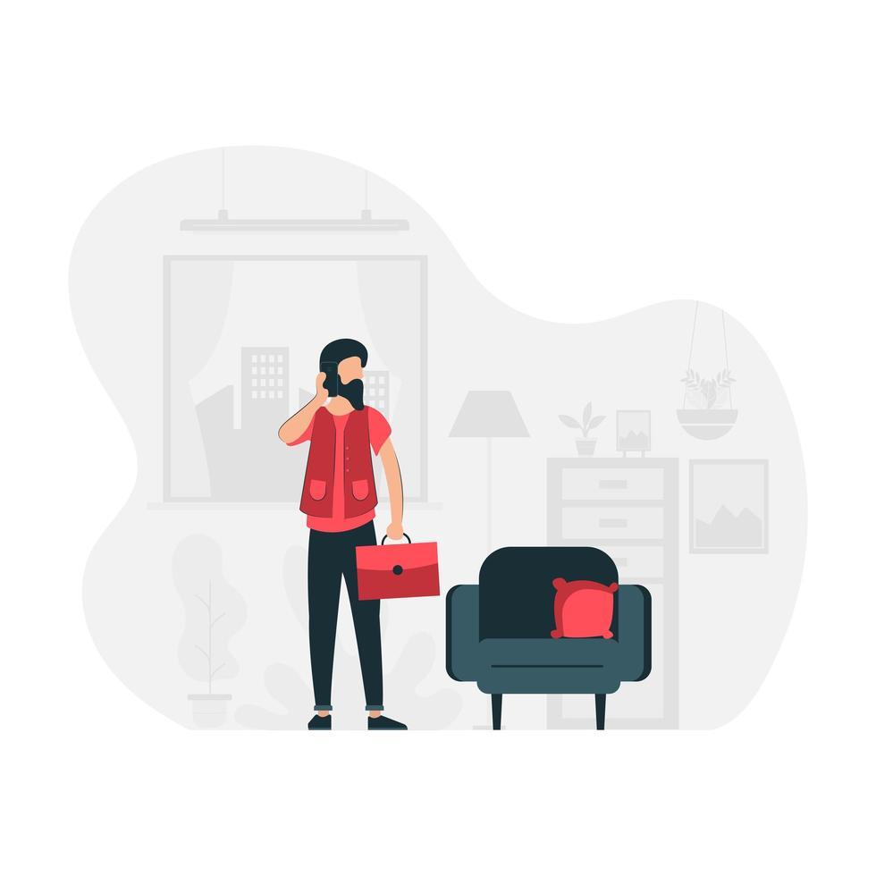 freelancer masculino trabalhando em casa vetor