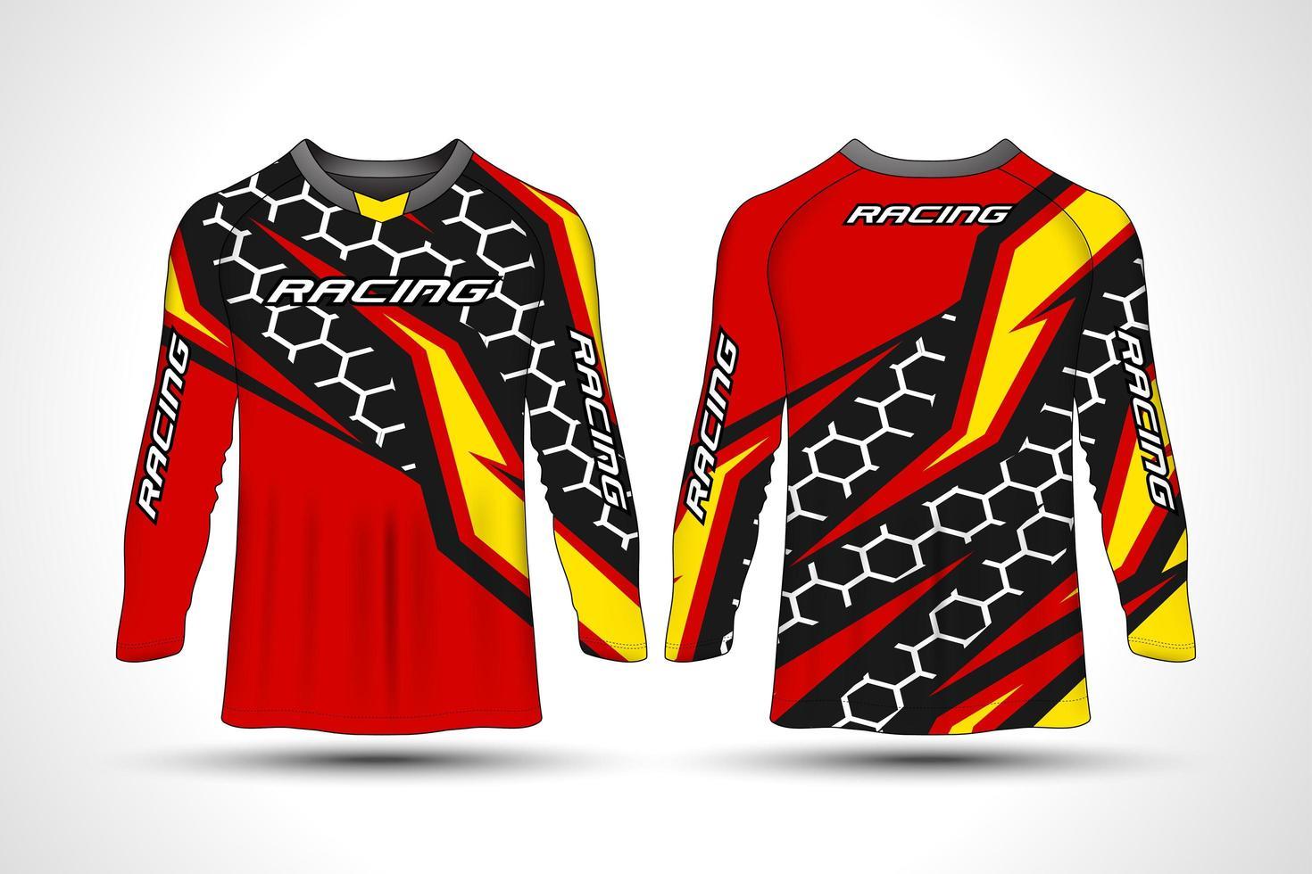 camiseta de manga comprida camisa de moto esporte vetor