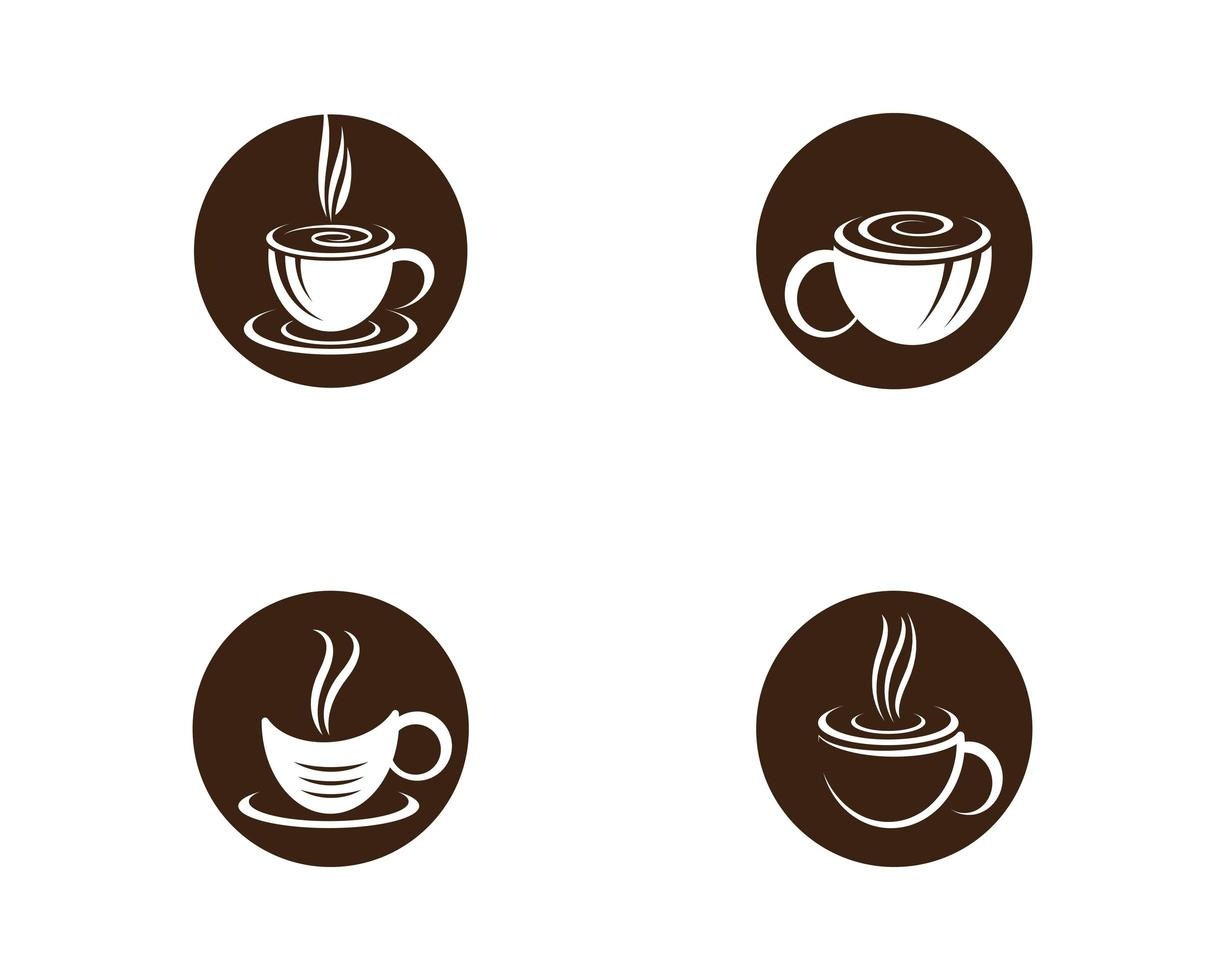 xícara de café redondo conjunto de logotipo vetor